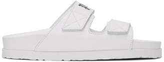 Palm Angels White Leather Logo Sandals