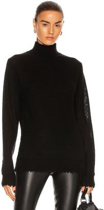 R 13 Distressed Edge Cashmere Turtleneck Sweater in Black | FWRD