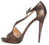Christian Louboutin Metallic Snakeskin Platform Sandals