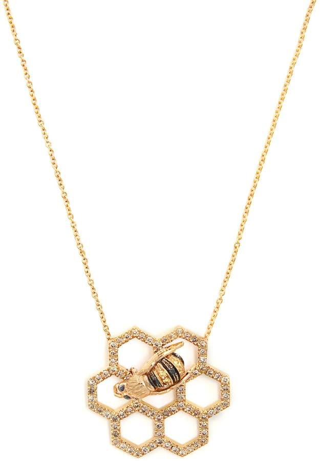 Delfina Delettrez Beehive diamond & sapphire yellow-gold necklace