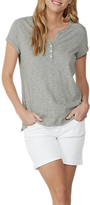 Fat Face Tammy Cotton-Linen Stripe Henley T-Shirt