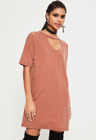 Missguided Pink Ripped Oversized T Shirt Dress