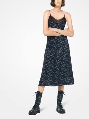 Michael Kors Rosebud Silk-Georgette Sequined Slip Dress