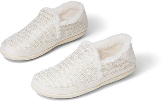 Toms White Faux Fur India Slipper