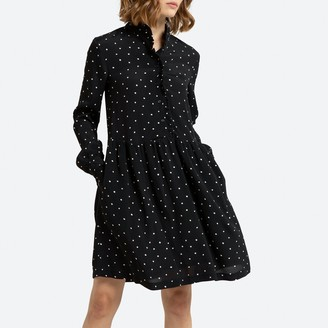 Polka Dot Knee-Length Dress with High Neck and Long Sleeves