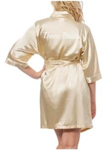 Cathy's Concepts Team Bride Gold Satin Bridesmaid Robe