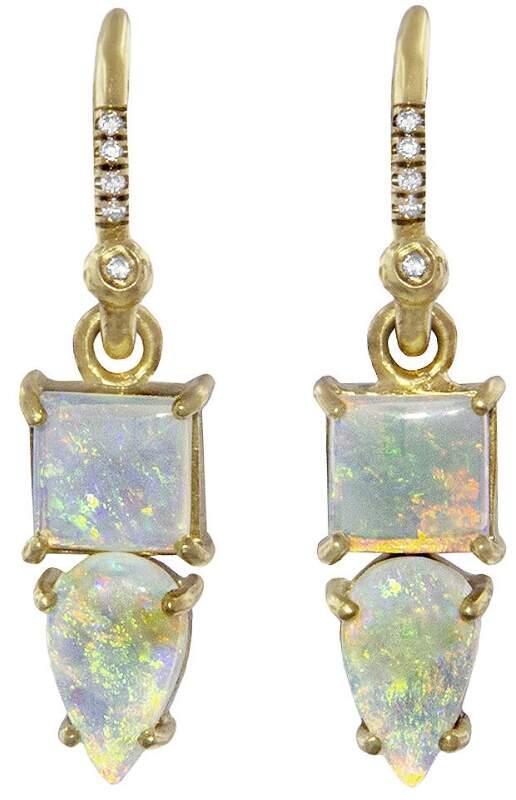 Irene Neuwirth Crystal Opal and Diamond Earrings - Yellow Gold