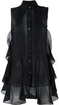 MM6 MAISON MARGIELA sleeveless ruffled sheer blouse