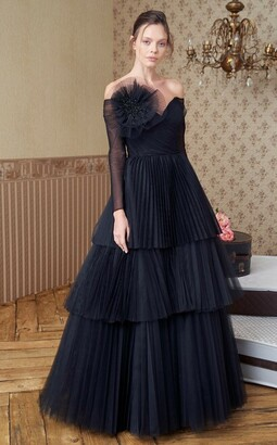 MNM Couture Strapless Pleated Tiered Gown