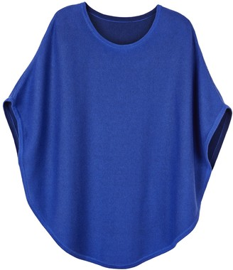 Cove Flora Cotton Cashmere Reversible Poncho Cobalt Blue & French Navy