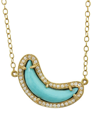 Andrea Fohrman Turquoise and White Diamond Crescent Moon Yellow Gold Necklace