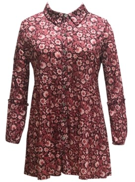 Style&Co. Style & Co Plus Size Floral-Print Mesh Shirt, Created for Macy's