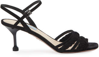 Prada 65mm Braided Suede Sandals