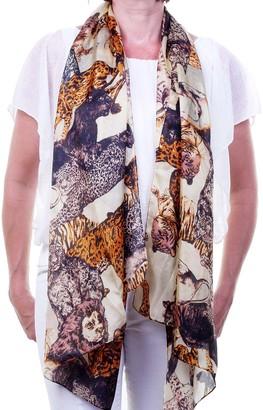 Silk Scarves 100% Pure Silk Ladies Fashion Scarf Shawl Sarong with Big Cats Print Lion Tiger Cheetah Jaguar Lynx with Cream Background