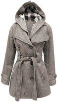 My Mix Trendz Women's Ladies Hooded Button Up Fleece Coat with Belt