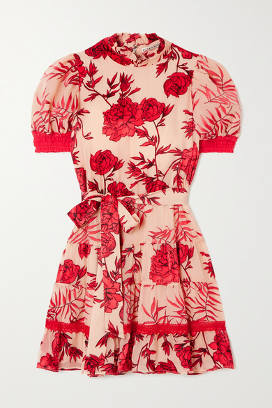 Alice + Olivia Alice Olivia - Regan Belted Crochet-trimmed Appliqued Chiffon Mini Dress - Red