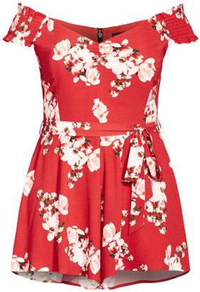 City Chic Sacred Lotus Playsuit - red