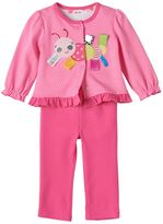 Taggies Baby Girl Caterpillar Cardigan, Bodysuit & Pants Set