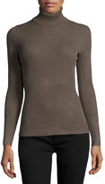Neiman Marcus Ribbed Turtleneck Sweater, Mink Heather