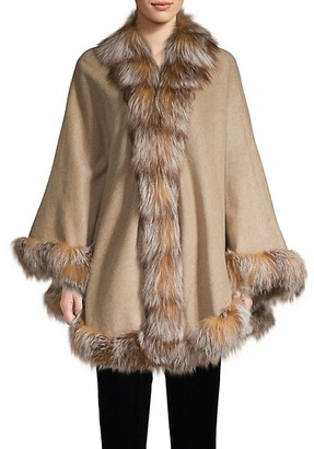 Belle Fare Silver Fox Fur-Trim Wool Shawl
