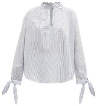 Nika Belize Tie Neck Striped Linen Blend Blouse - Womens - Blue White