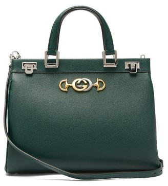 Gucci Zumi Medium Top-handle Leather Bag - Womens - Dark Green