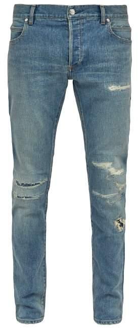 Balmain Distressed Mid Rise Skinny Jeans - Mens - Blue