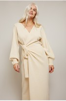 Thumbnail for your product : Little Mistress Finlay Cream Knit Wrap Midi Dress