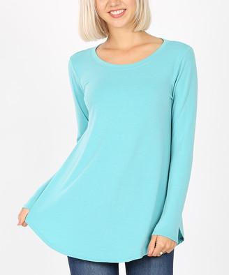 Ash Zenana Women's Tee Shirts  Mint Round-Hem Long-Sleeve Crewneck Tee - Women & Plus