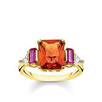 Thomas Sabo Women Ring Colourful Stones, Gold 925 Sterling Silver, 18k Yellow Gold Plating TR2262-488-7