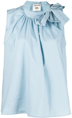 Semi-Couture Sleeveless Bow-Collar Blouse
