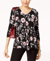 Alfani Printed Angled-Overlay Top, Created for Macy's