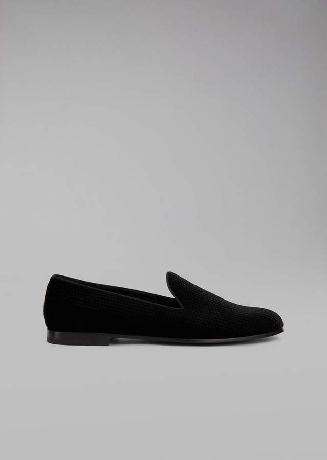 Giorgio Armani Loafers In Lasered Velvet