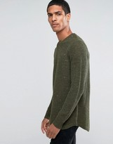 Asos Longline Curved Hem Sweater in Wool Mix