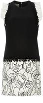 Giambattista Valli Sleeveless Mini Shift Dress with Ruffled Shoulders