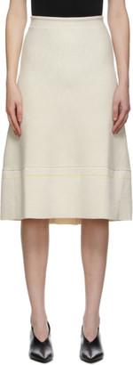 Victoria Beckham Off-White Textured Rib Flare Skirt