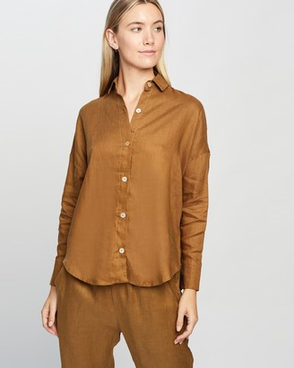 LÉ BUNS Women's Brown Shirts & Blouses - Willow Linen Button Up Shirt - Size 8 at The Iconic