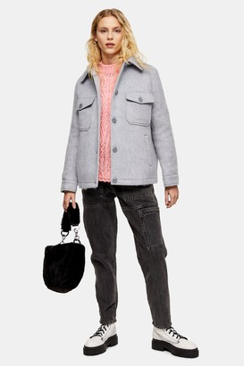 Topshop Womens Considered Grey Jacket With Recycled Wool - Grey