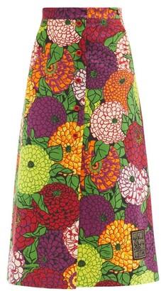 Gucci X Ken Scott Floral-print Cotton-blend Skirt - Multi