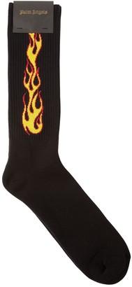 Palm Angels Flame Intarsia Cotton Blend Socks