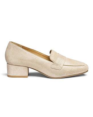 Jdw Leather Block Heel Loafers E Fit
