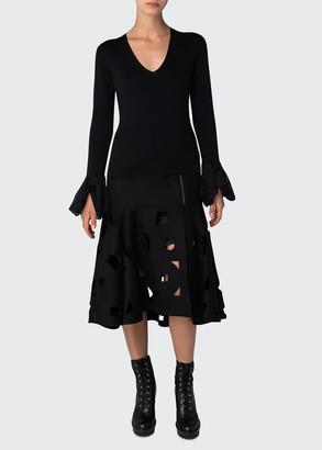 Akris Knit V-Neck Sweater with Handkerchief Cuffs