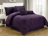 Chezmoi Collection 7-Piece Hotel Dobby Stripe Comforter Set, King, Purple