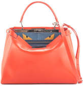 Fendi NEW Orange Leather Snakeskin Peekaboo Monster Satchel Handbag EVHB