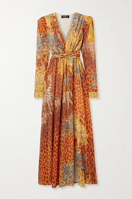 PatBO Margot Printed Chiffon Maxi Dress - Orange