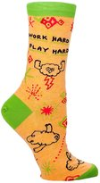 Blue Q Work Hard Play Hard Socks Wmens Shoe Size 5-10