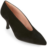 Alberto Zago Black V-Throat Suede Pumps
