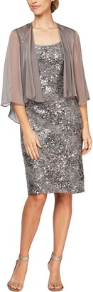 Alex Evenings Shimmering Floral Lace Sheath Dress with Jacket