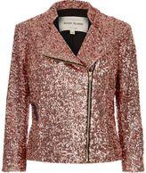 River Island Womens Pink sequin biker jacket