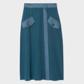 Paul Smith Women's Teal Silk Wrap-Skirt